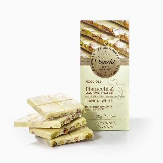 Venchi biela čokoláda s pistáciami, mandľami a lieskovcami 100g