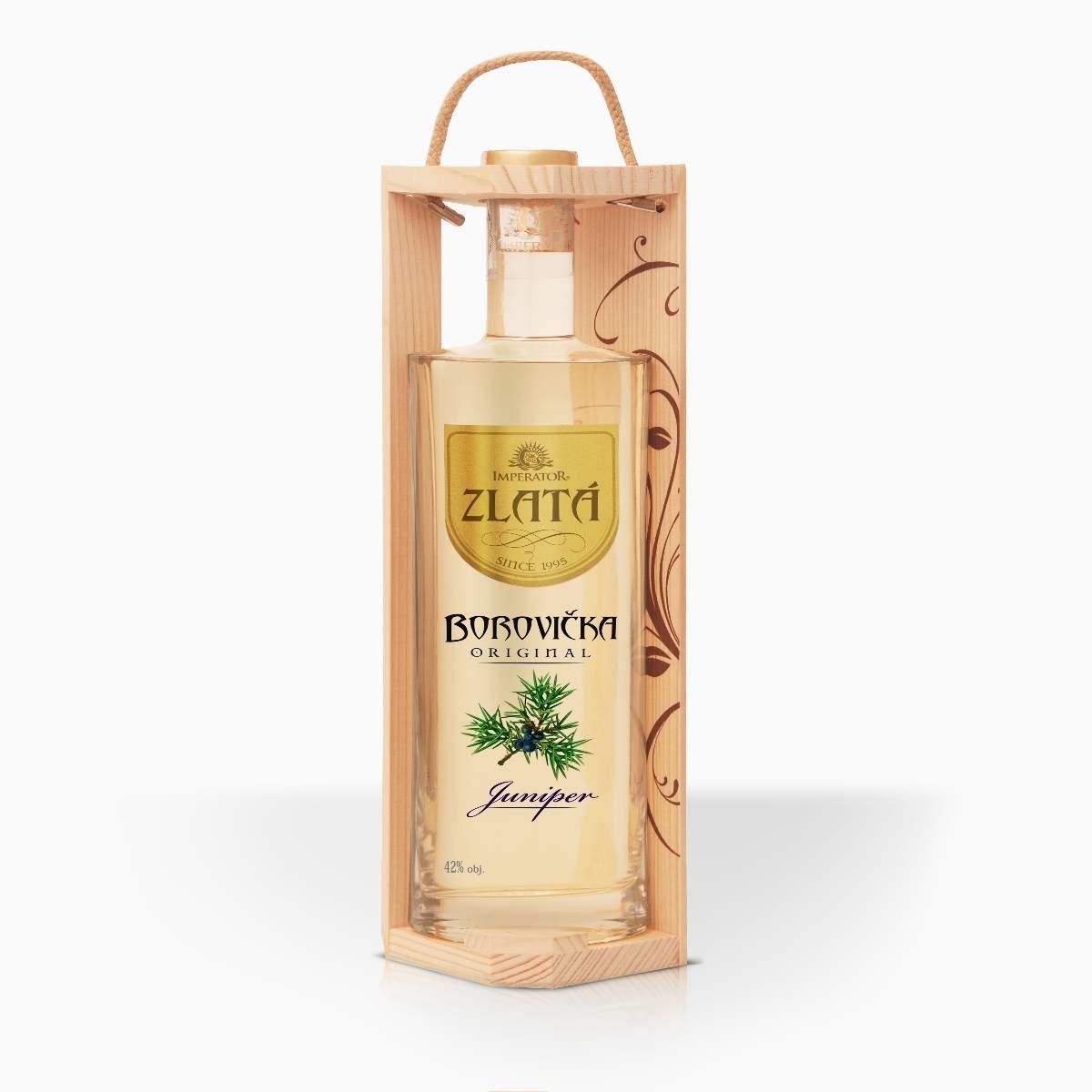 Destilát Imperator borovička Zlata v darčekovej kazete 42% 0,7l