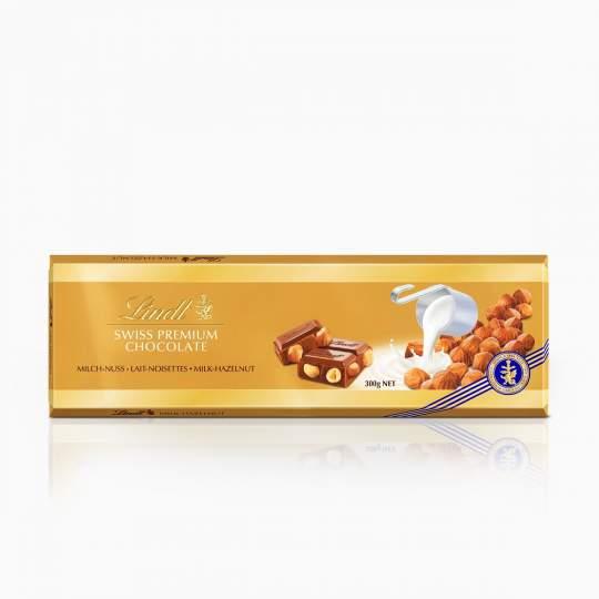 Lindt švajčiarka mliečna čokoláda s celými lieskovcami 300 g