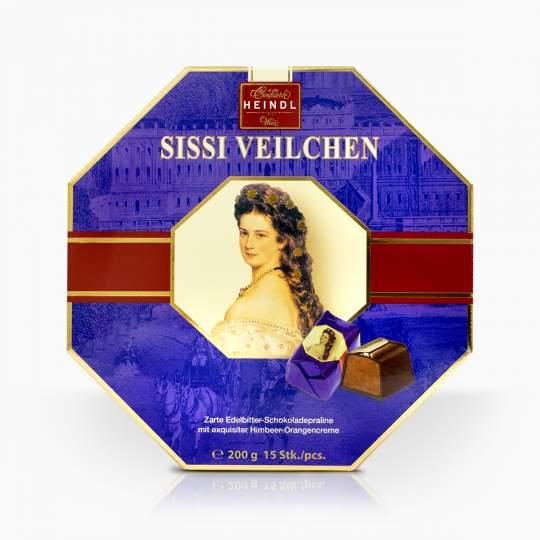 Heindl Sissi Veilchen pralinky s malinovo- pomarančovým krémom v horkej čokoláde 200g
