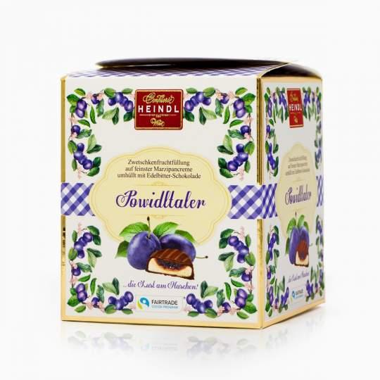 Heindl Powidltaler marcipánové medailóniky s ovocnou náplňou v horkej čokoláde 175g