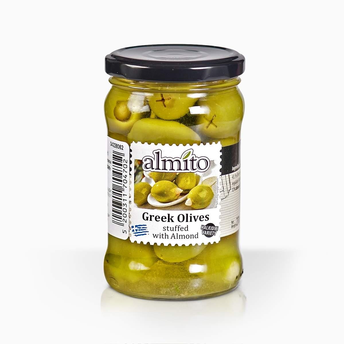 Almito grécke olivy plnené mandľou 270g