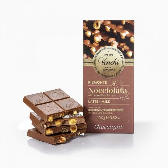 Venchi DIA mliečna čokoláda s celými lieskovcami bez cukru 100g