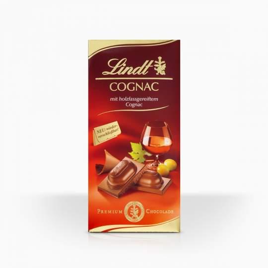 Lindt mliečna čokoláda s tekutou náplňou s koňakom 100g