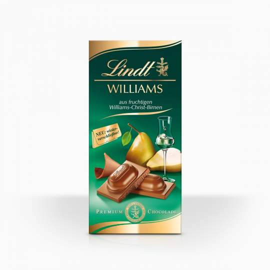 Lindt mliečna čokoláda s tekutou náplňou s hruškovicou Wiliams 100g