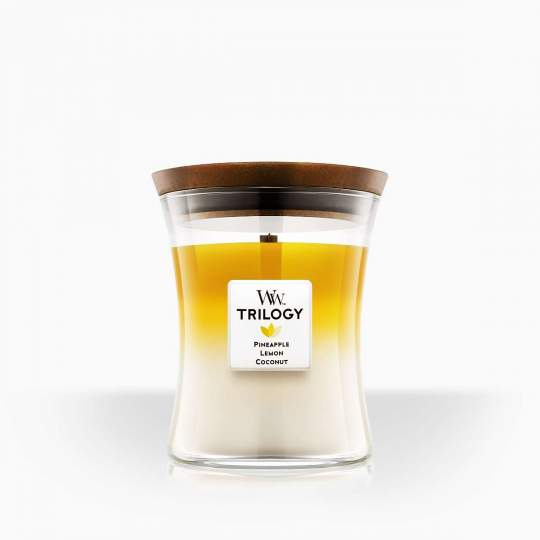 "WoodWick vonná sviečka s dreveným knotom Trilogy ""Fruits of Summer"" 275g"