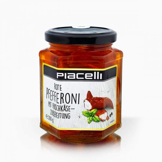 Piacelli červená paprika plnená syrovým krémom 280g
