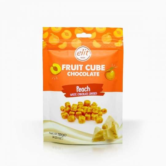 Elit Peach Fruit Cubes in White Chocolate 120g