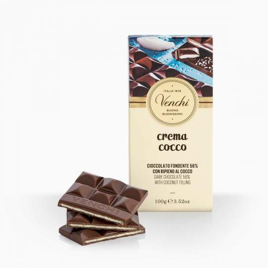 Venchi Crema Cocco horká čokoláda s kokosovou náplňou 100g