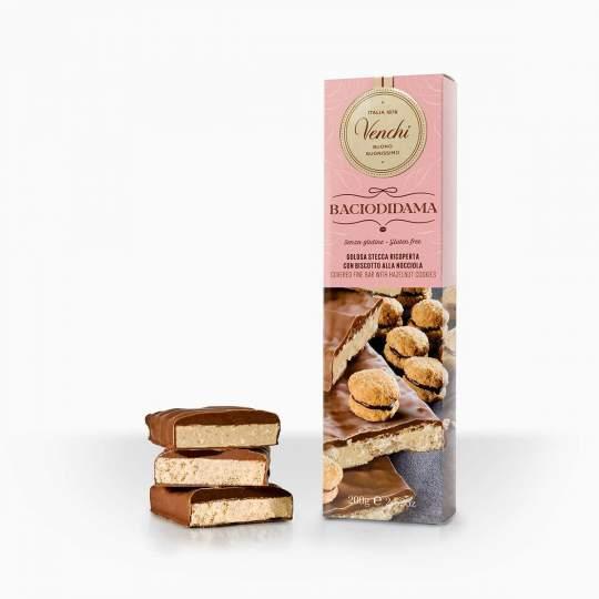 Venchi Bacio Di Dama tyčinka v mliečnej čokoláde s lieskovo-orieškovým krémom a sušienkami 200g