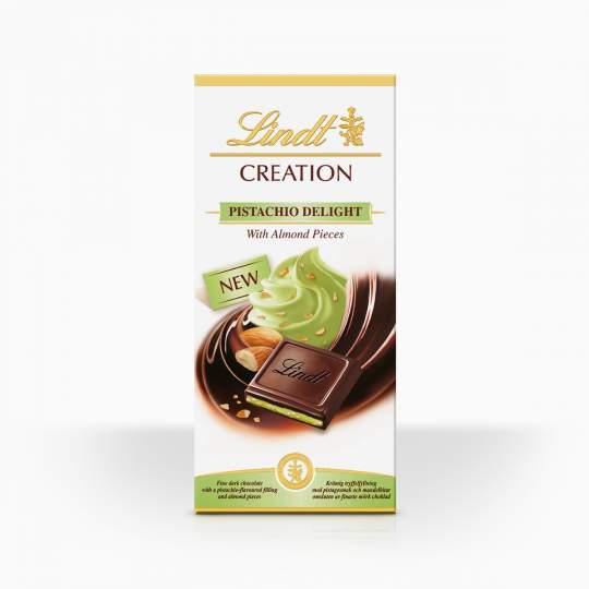 Lindt Creation horká čokoláda plnená mandľovým krémom s pistáciou 150g