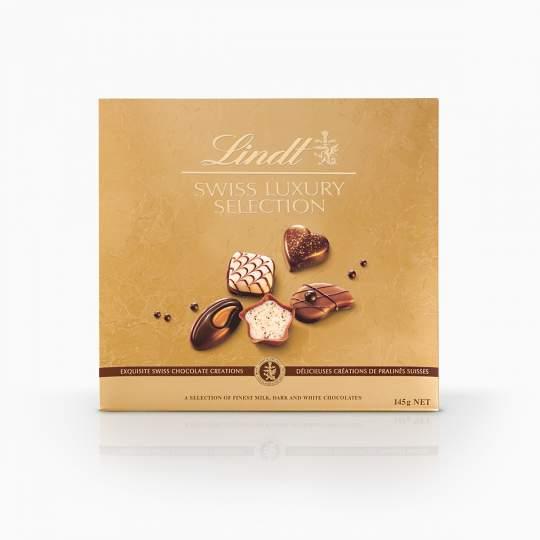 Lindt Swiss Luxury Selection kolekcia plnených bonbónov z mliečnej a horkej švajčiarskej čokolády 145g