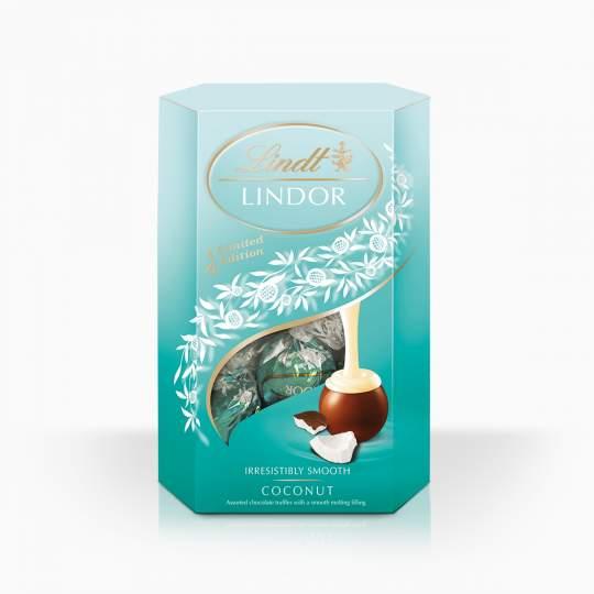 Lindor bonbóny z mliečnej čokolády s jemnou kokosovou náplňou 200g